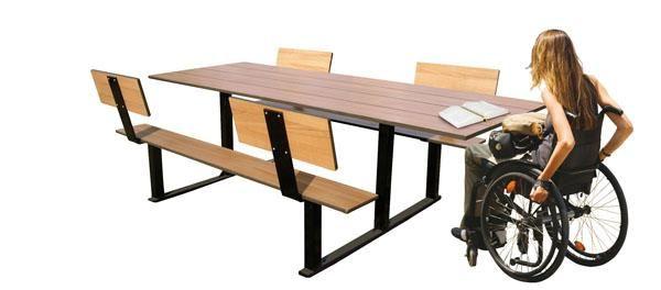 Mesa de pique nique exterior com espaldar riga - Mobiliario de exteriores ...
