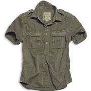 SURPLUS Raw Vintage Shirt shortsleeve olive washed / Camisa de manga corta oliva desgastado
