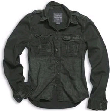 SURPLUS Raw Vintage Shirt longsleeve black washed / Camisa negra desgastada