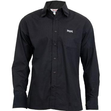 LONSDALE Longsleeve Button Down Shirt PLAIN Black 110840 ...