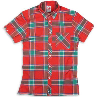 SPIRIT OF 69 - Short Sleeve Slimfit Shirt Tartan 2055 Red/Tur/Blue / Camisa de manga corta