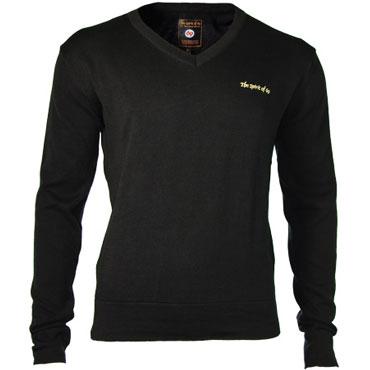 SPIRIT OF 69 - Knitted V-Neck Pullover Morgan Black / Jersey Negro