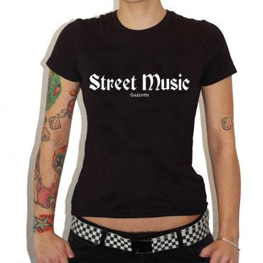 STREET MUSIC Black T-Shirt GIRL/CHICA