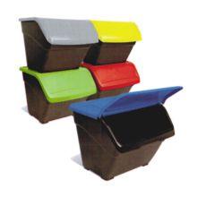 Pack de 3 contenedores de reciclaje apilables Eco-Box