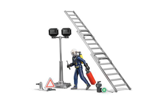 Pack bombero con escalera, extintor y señal