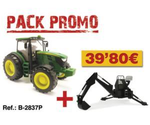 BRITAINS 1:16 Pack tractor de juguete JOHN DEERE 6210R + retroexcavadora