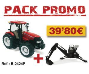 Pack tractor de juguete CASE IH 210 Puma + retroexcavadora