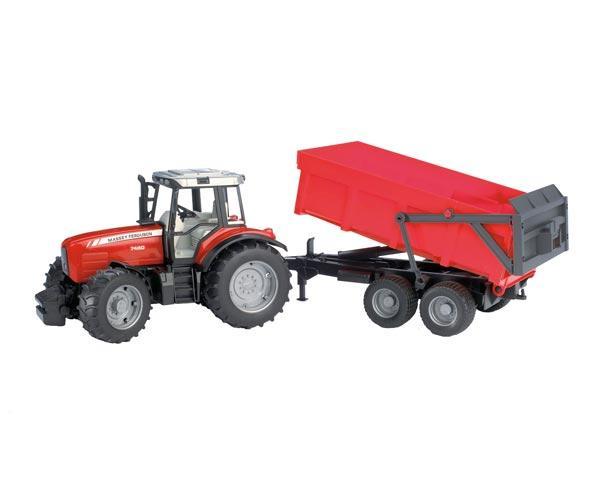 Tractor de juguete MASSEY FERGUSON 7480 con remolque