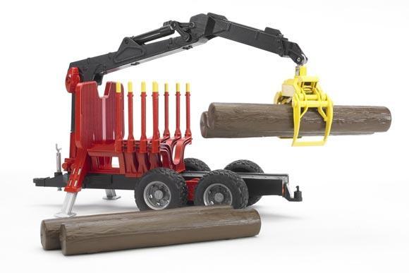 Remolque forestal de juguete con pinza y 4 troncos - Ítem1