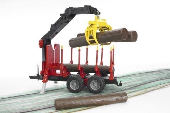 Remolque forestal de juguete con pinza y 4 troncos - Ítem2