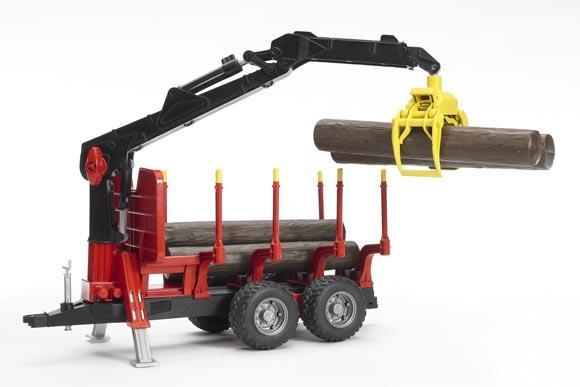 Remolque forestal de juguete con pinza y 4 troncos