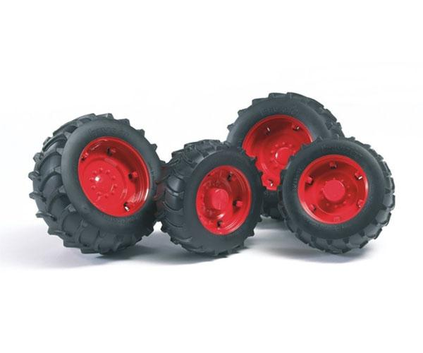 Juego de ruedas gemelas Tractores de juguete serie Top Profi 2000 llantas rojas