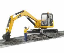 Miniexcavadora de juguete CATERPILLAR con trabajador Bruder 02466 - Ítem1