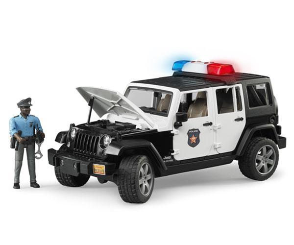 Todoterreno JEEP Wrangler Unlimited Rubicon con 1 policia Bruder 02527