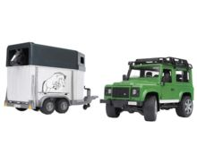 Todoterreno de juguete LAND ROVER Defender con remolque de caballos - Ítem1