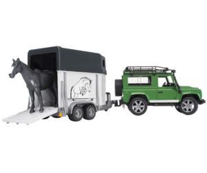Todoterreno de juguete LAND ROVER Defender con remolque de caballos