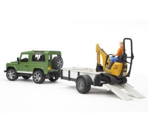 Todoterreno de juguete LAND ROVER Defender con remolque, miniexcavadora JCB 8010 CTS y conductor
