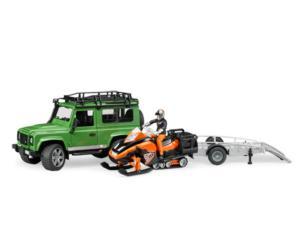 Todoterreno de juguete LAND ROVER Defender con remolque, moto de nieve y conductor