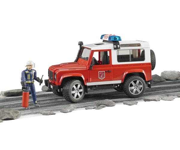 Todoterreno de juguete LAND ROVER DEFENDER con 1 bombero Bruder 02596 - Ítem1