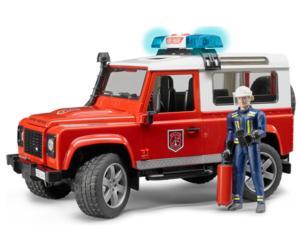 Todoterreno de juguete LAND ROVER DEFENDER con 1 bombero Bruder 02596