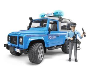Todoterreno de juguete LAND ROVER Defender con policia Bruder 02597
