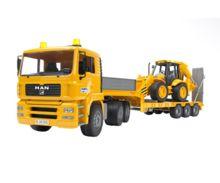 camion man tga 410 a con gondola fliegl y excavadora jcb 4cx - Ítem1