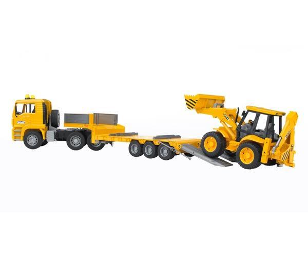 camion man tga 410 a con gondola fliegl y excavadora jcb 4cx - Ítem2