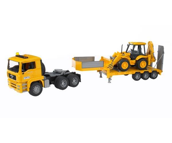 camion man tga 410 a con gondola fliegl y excavadora jcb 4cx - Ítem3