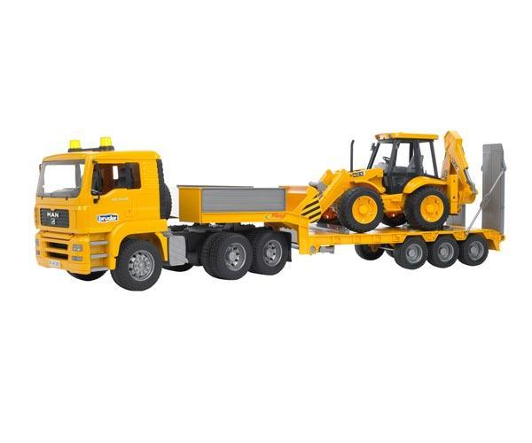 camion man tga 410 a con gondola fliegl y excavadora jcb 4cx