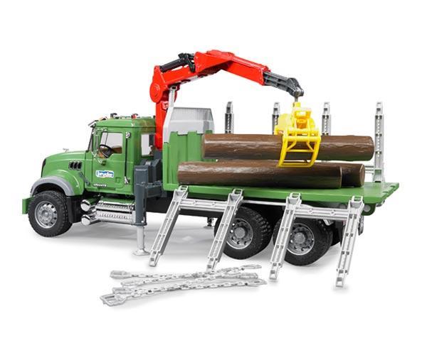 Camion forestal de juguete MACK Granite con 3 troncos - Ítem2