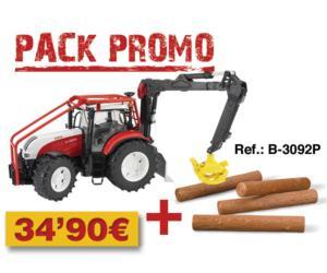 Pack tractor forestal de juguete STEYR CVT 6230 + 4 troncos
