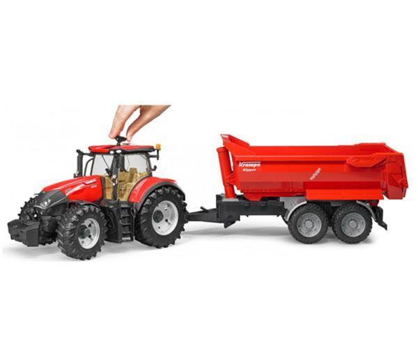 Tractor de juguete CASE IH Optum 300 CVX con remolque KRAMPE Bruder 03199 - Ítem3