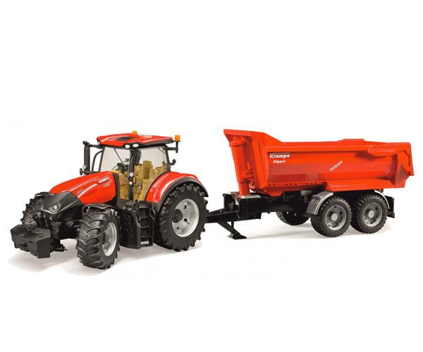 Tractor de juguete CASE IH Optum 300 CVX con remolque KRAMPE Bruder 03199