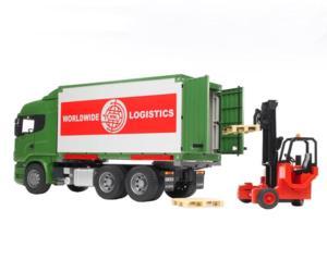camion scania r-serie con container intercambiable y carretilla elevadora