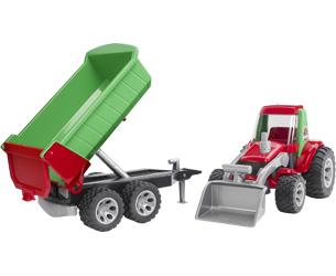 Vista por separado tractor con pala y remolque BRUDER
