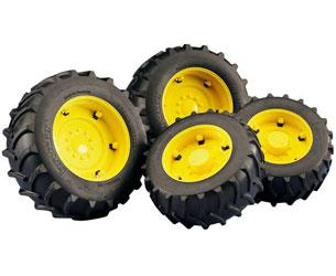Juego de ruedas gemelas Tractores de juguete serie Top Profi 2000 llantas amarillas