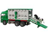 Camión de juguete MAN para transporte de ganado con una vaca
