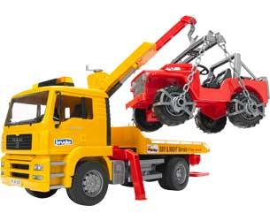 Camión grua de juguete MAN TGA con todoterreno