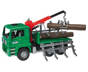 Camión forestal de juguete MAN TG 410 A con 3 troncos