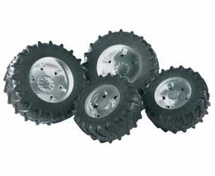 Pack ruedas gemelas tractores Bruder serie 3000. Llantas plateadas