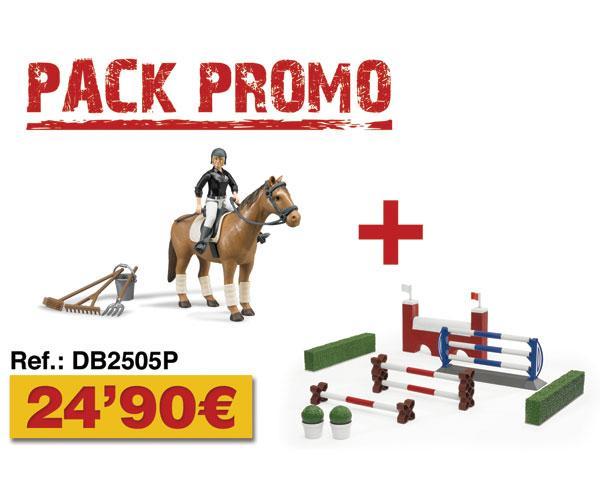 Pack caballo+jinete+accesorios+obstáculos y setos Bruder