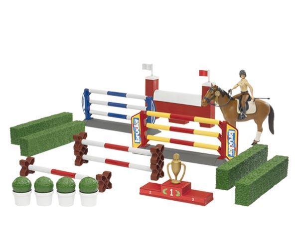 Pack de jinete, caballo, obstaculos y setos Bruder 62530