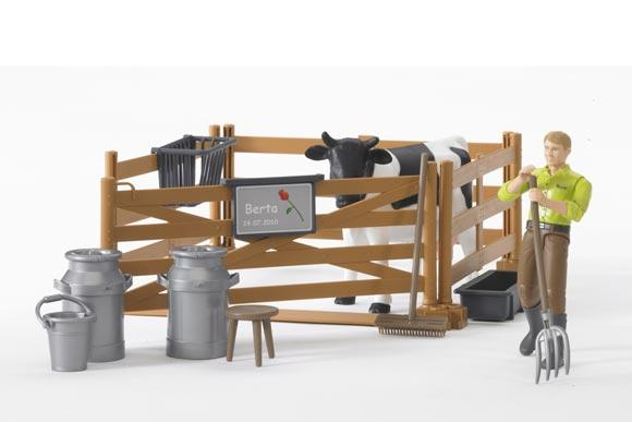 Pack granjero, vaca, vallado y accesorios - Ítem1