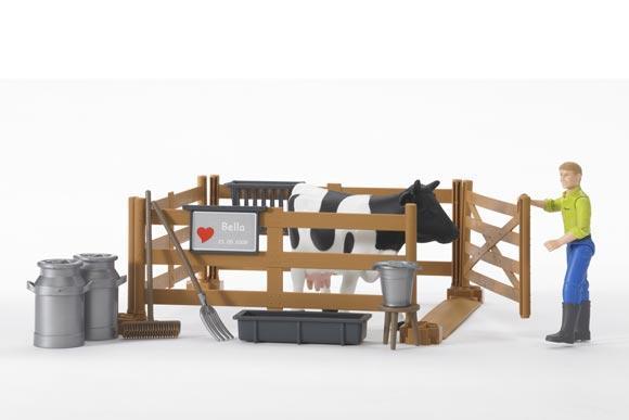 Pack granjero, vaca, vallado y accesorios