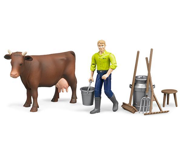 Pack granjero, vaca y accesorios granja