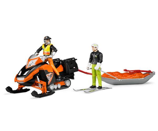 Moto de nieve de juguete con conductor y trineo de rescate