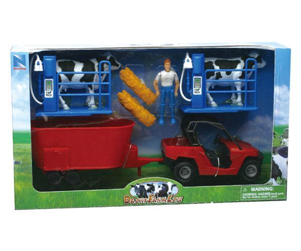 Pack vehículo, unifeed, granjero, vacas y cubículos New Ray 05015 - Ítem1