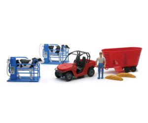 Pack vehículo, unifeed, granjero, vacas y cubículos New Ray 05015