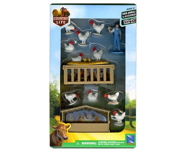 Pack granjero, gallos, gallinas, pollitos, gallineros New Ray 05515 - Ítem1