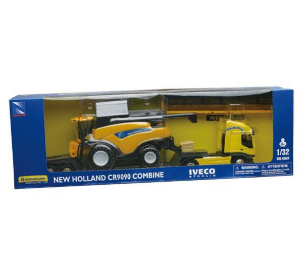 Miniatura camion IVECO con cosechadora NEW HOLLAND CR9090 New Ray 05653 - Ítem1